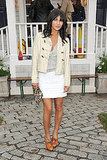 Jessica Szohr mixed a preppy cropped toggle coat, leopard print, and a frilly white mini for the Tommy Hilfiger Prep World launch.