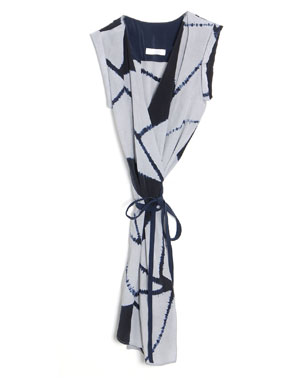 Bruce Silk Tie-Dye Blocks Wrap Dress ($650)