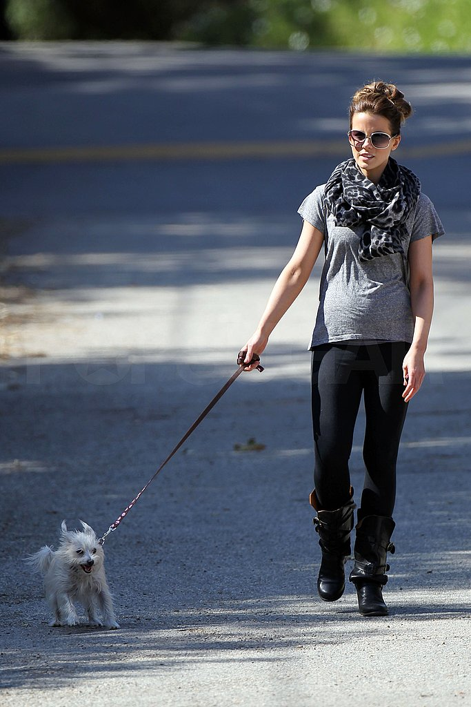 Kate Beckinsale Takes Her Pup, Daughter, and Tight Shirt on a Hike