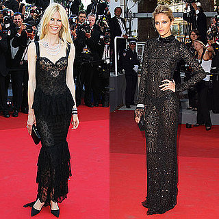 Claudia Schiffer in Dolce & Gabbana and Anja Rubik in Emilio Pucci at the 2011 Cannes Film Festival