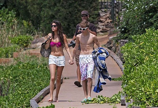Shirtless Justin Bieber Flaunts Tattoos and Hits the Beach With Bikini-Clad Selena Gomez
