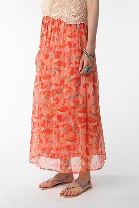 Another fresh option to wear over a solid one-piece. Pins and Needles Printed Chiffon Maxi Skirt, $59