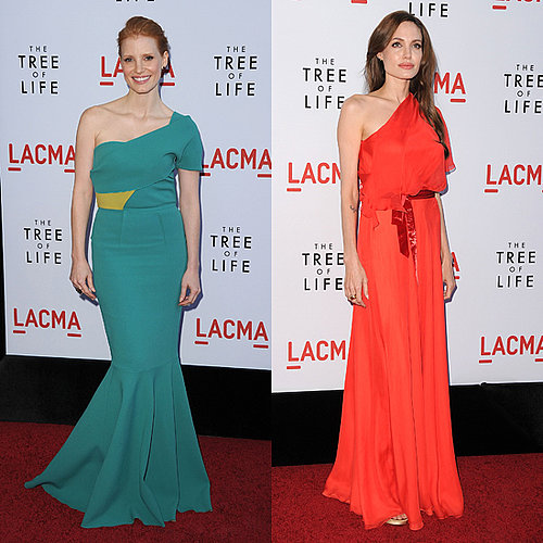 Angelina Jolie in Jenny Packham and Jessica Chastain in Roland Mouret on the Red Carpet at Tree of Life Premiere