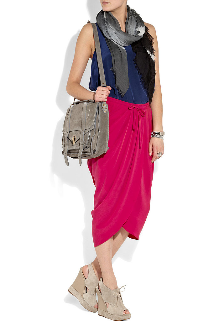 This vibrant pink skirt can easily transition from Summer to Fall.  Thakoon Draped Silk Skirt ($237, originally $395)