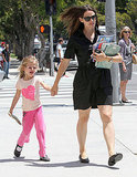 Jennifer Garner and Violet Check Out an Armload of Books and Flat Stanley at the Library