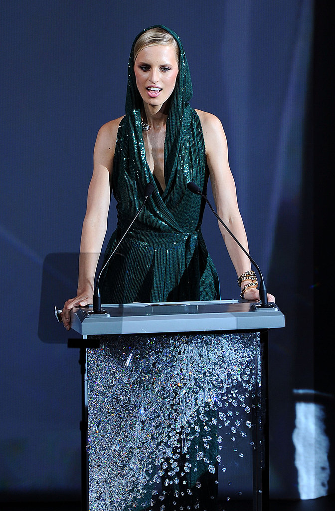 "Karolina Kurkova, who presented the three Swarovski awards for emerging talent, interrupted her presentation to randomly sing a lyric from Lady Gaga's ""Paparazzi"" in the direction of the pop star: ""This is like KK's coming out. I'm  your biggest fan, I'll follow you until you love me . . . "" Gaga then stood  up to cheer her on."
