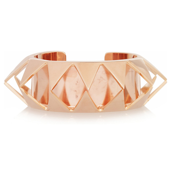 Eddie Borgo Smile Rose Gold-Plated Cutout Pyramid Cuff, $440