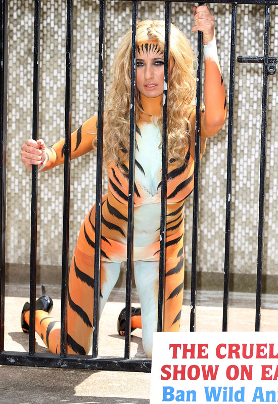 Reality star Chantelle Houghton protests the use of wild animals on cruise ships.