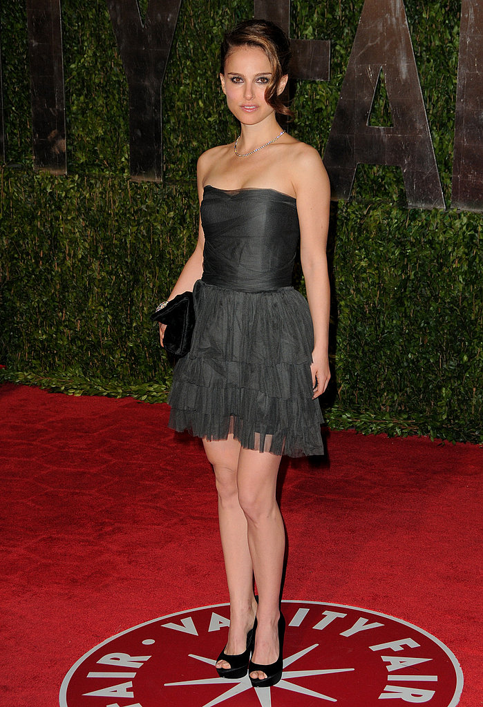 Natalie Portman in a Black Lanvin Mini at Vanity Fair's 2010 Oscar Party