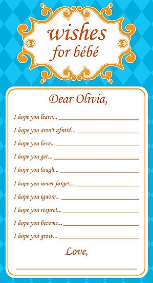 We made this for our guests to write to Olivia