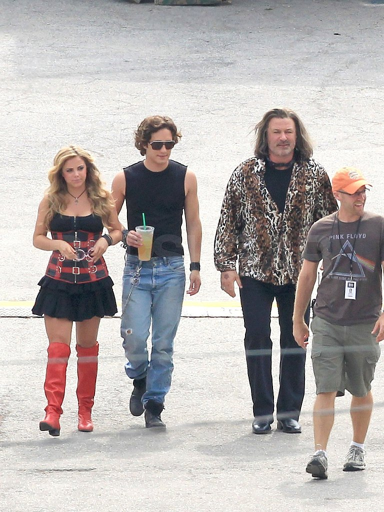 Russell Brand, Julianne Hough, and Alec Baldwin Continue Rocking Big Hair on Set