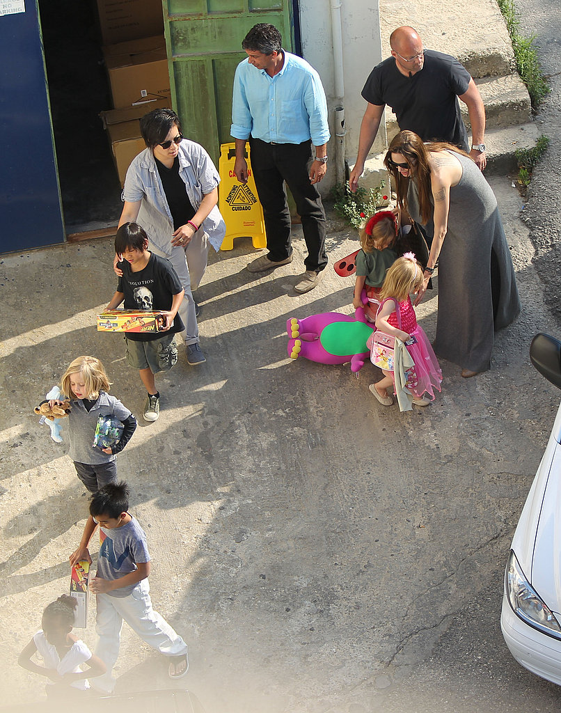 Angelina Jolie Takes Pax, Maddox, Zahara, Shiloh, and the Dressed-Up Twins Out to Play in Malta!