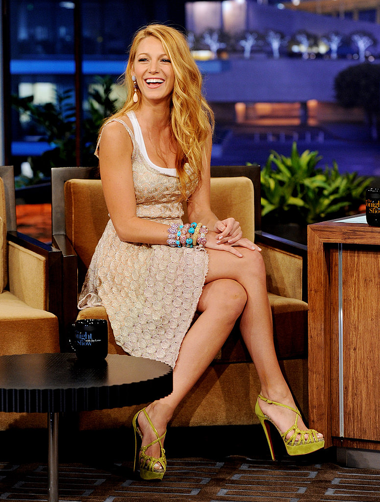 Blake Lively Talks Swimming With Sharks and Gives Jay Leno a Makeover on The Tonight Show