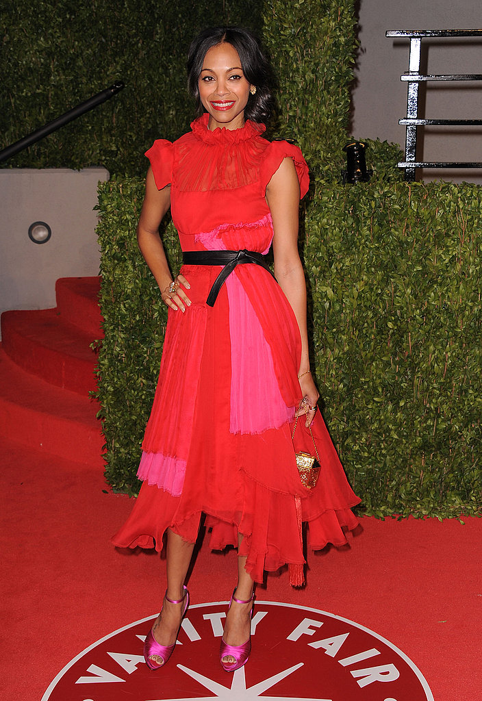 At the 2011 Vanity Fair Oscar Party, Zoe wore this gorgeous red ruffled dress by Prabal Gurung.