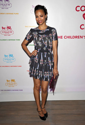 In 2011, Zoe wore a tribal-printed McQueen cocktail dress.