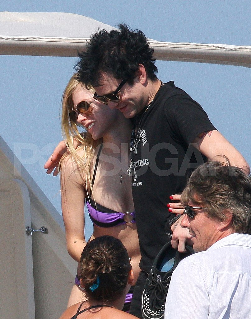 Avril Lavigne and ex husband Deryck Whibley hanging out in France.