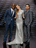 Rosie Huntington-Whiteley and Shia LaBeouf pose in Berlin with Tyrese Gibson.