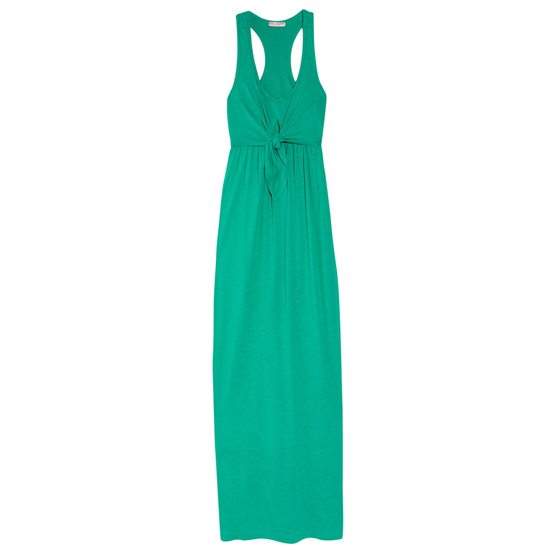 >> Go tropical. The jade-green shade of this knot-front maxi is the perfect compliment to vibrant cobalt earrings and coral shoes. Juicey Couture Slub-Jersey Dress, $160 Looks chic with: