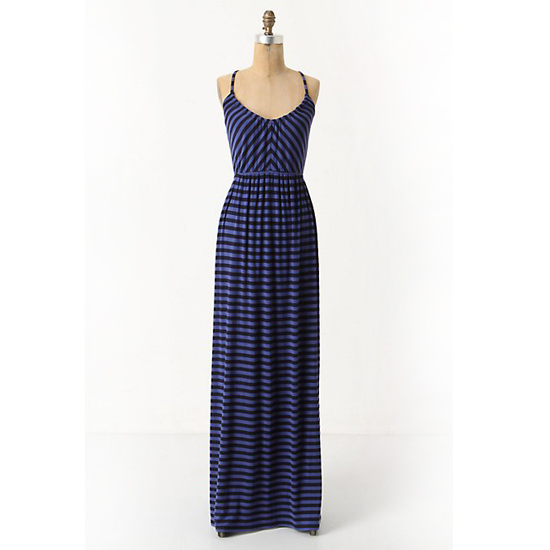 >> Accessories with nautical details (think rope belts, espadrilles, and canvas totes) play up the stripes on this weekend-perfect dress. Equinox Striped Maxi Dress, $158 Looks chic with: