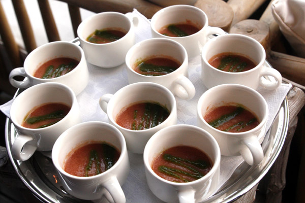 Teacups were filled with an authentic-tasting heirloom tomato gazpacho. It was cool and earthy.