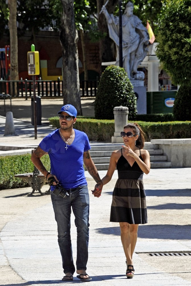Eduardo Cruz and Eva Longoria walked together through the streets of Madrid, Spain.