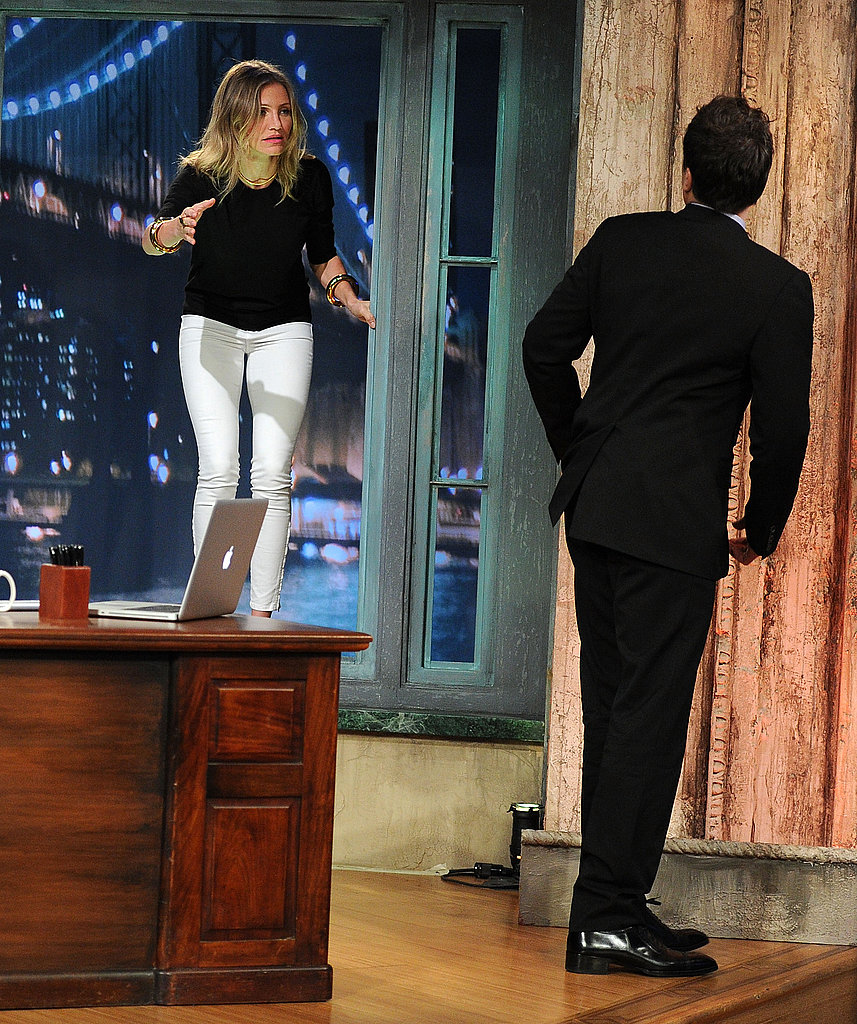 Cameron Diaz made an entrance in black and white on Late Night With Jimmy Fallon.