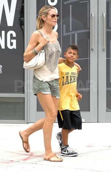 Heidi Klum kept Henry Samuel close by on the street in NYC.