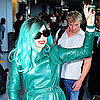 Pictures of Lady Gaga With Green Hair at Tokyo Airport
