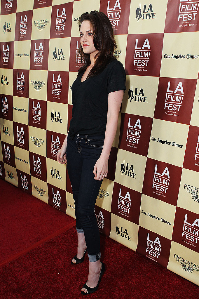 Kristen Stewart wore cuffed jeans at the LA Film Festival.