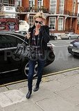 Kate Moss wearing black in London.
