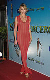 A bombshell moment in a body-hugging knit maxi for a 2007 film premiere.