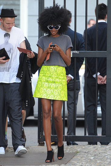 Julia Sarr-Jamois in a Christopher Kane skirt