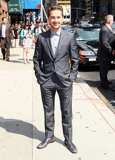 Shia LaBeouf flashed a smile on the NYC sidewalk.