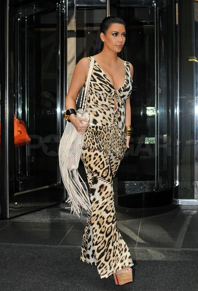 Kim Kardashian chose a bold print for a day of shopping.