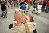 One of 300 Marines is welcomed home to Camp Lejeune, NC, in 2008.