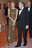 Charlene Wittstock and Prince Albert arrive to attend the Formula One Gala dinner on May 29, 2011.