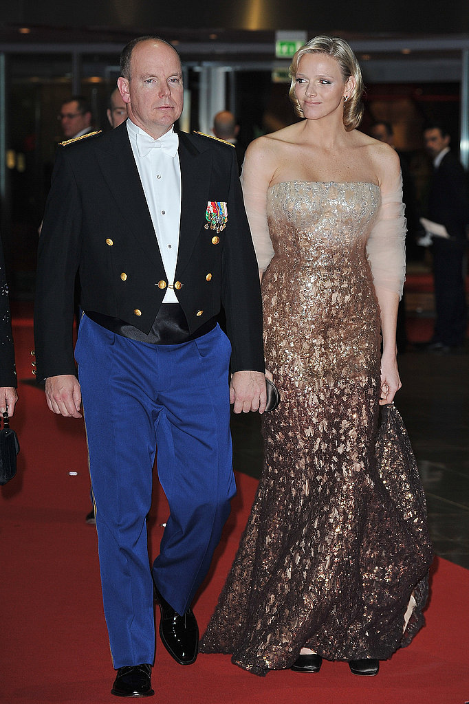 Prince Albert and Charlene Wittstock arrive to attend the Monaco National Day Gala in 2010.