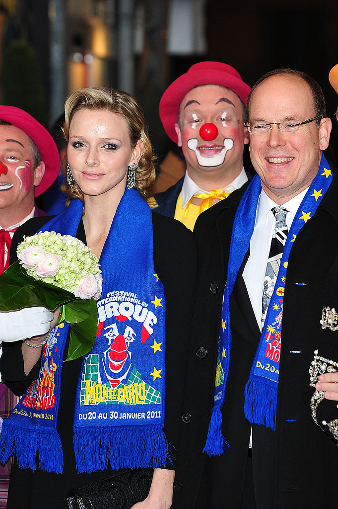 Charlene Wittstock and Prince Albert attend the awards ceremony for the 35th Monte-Carlo International Circus Festival on Jan. 25, 2011.