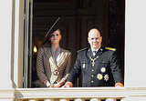 Prince Albert of Monaco and his fiancée, South African Charlene Wittstock, appear on the balcony of the Monaco Palace.