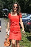 Pippa Middleton wears red.