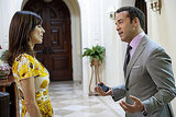 Perrey Reeves as Mrs. Ari and Jeremy Piven as Ari Gold, Entourage season eight.