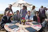 Scott Caan as Scott Lavin, Kevin Dillon as Johnny Drama, Jeremy Piven as Ari Gold, Jerry Ferrara as Turtle, Kevin Connolly as Eric Murphy, and Adrian Grenier as Vincent Chase, Entourage season eight.