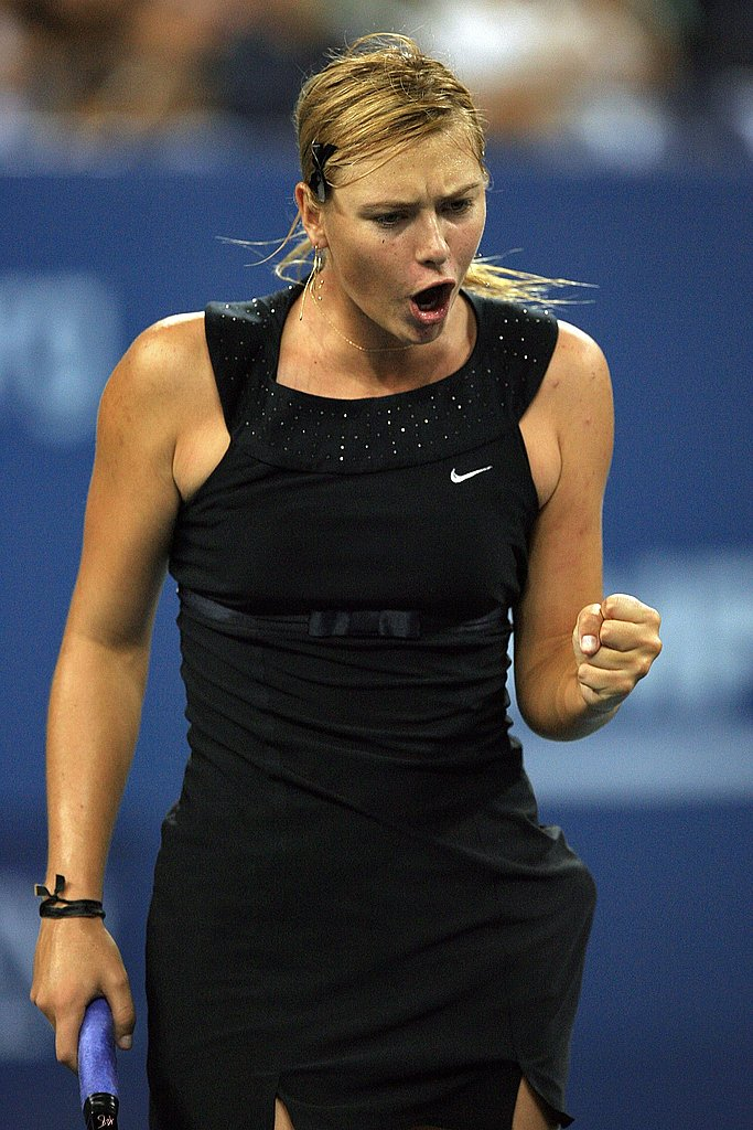 "Maria Sharapova takes tennis fashion to a whole new level with this ""Audrey Hepburn"" inspired little black dress by Nike."