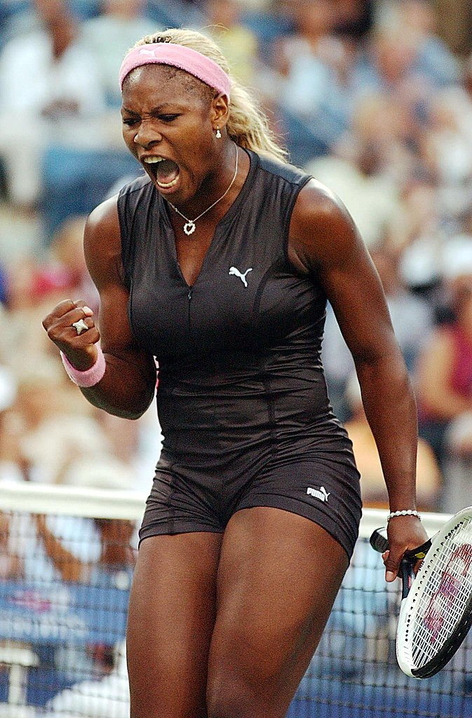 Serena Williams donned a leather catsuit by Puma at the 2002 US Open.