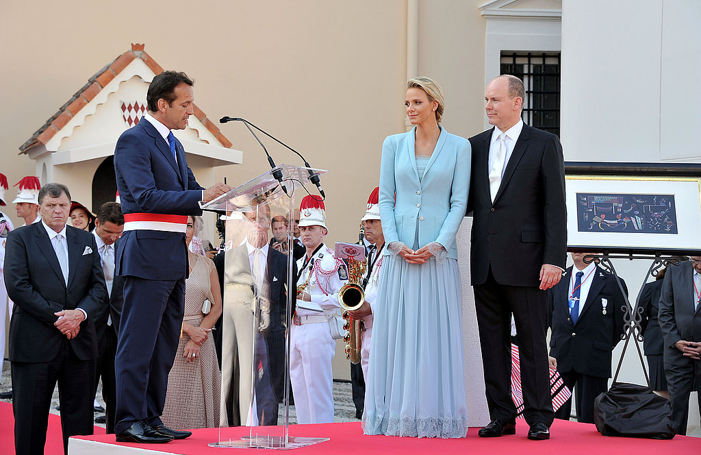Georges Marsan, mayor of Monaco, delivers a speech for Princess Charlene of Monaco and Prince Albert II of Monaco.