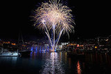 Fireworks reflect on the water at Port Hercule for Princess Charlene of Monaco and Prince Albert II of Monaco's wedding.