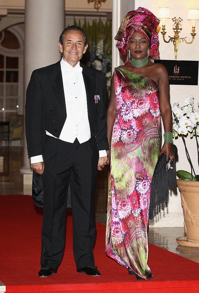 Jacky Ickx and his wife, Khadja Nin, attended a dinner at Opera terraces after the religious wedding ceremony of Prince Albert II of Monaco and Princess Charlene of Monaco.