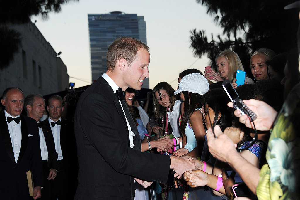 Prince William with fans at BAFTA Brits to Watch dinner.