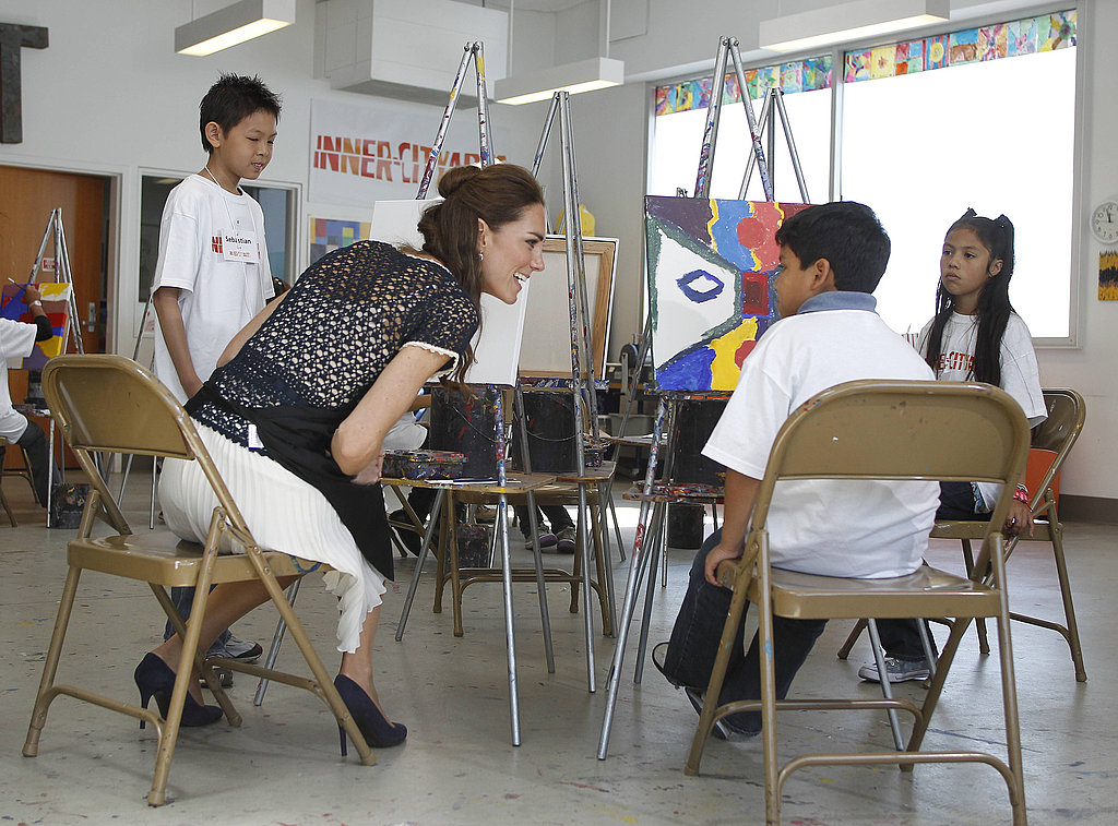 Kate Middleton with kids at Inner City Arts in LA.