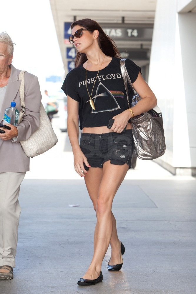 Ashley Greene showed off her leg muscles in short shorts.